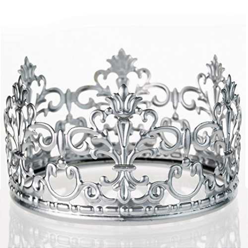 Silver Crown Cake Topper By The Preppy Crown: Elegant Cake Decoration For King, Queen, Prince And Princess Themed Parties -Royal Birthday Cake Decoration For Babies, Kids, Men And Women ()