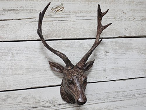 Best Value Here Wall Stag Head Ornament Rustic Brown Resin Deer Reindeer Hanging Sculpture Decor Figure