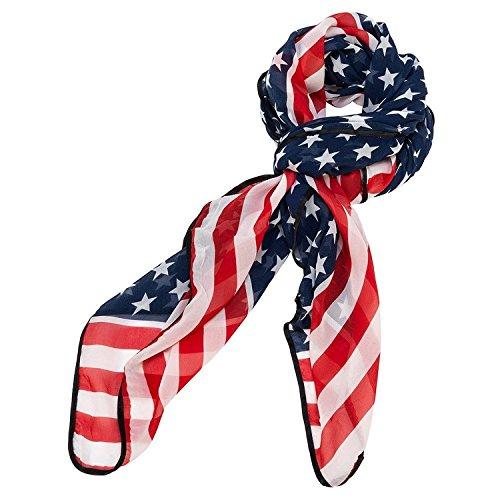 REINDEAR Trendy American Flag Chiffon Soft Scarf long Wrap Shawl US Seller