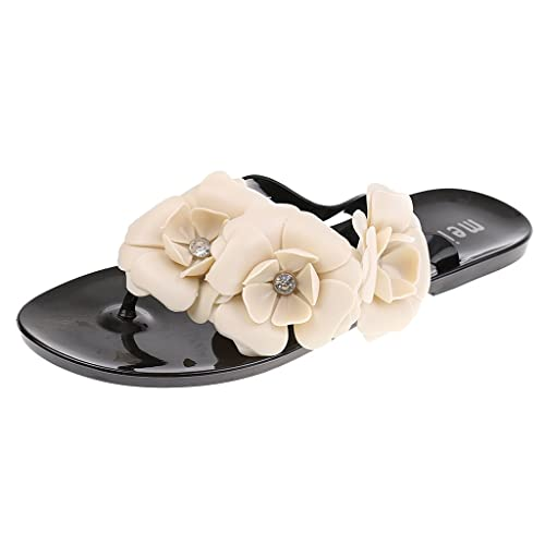 d35a0ae45 MagiDeal Summer Bohemia Flower Slippers Women Flip Flops Ladies Sandals  Clip Toe Beach Shoes - black