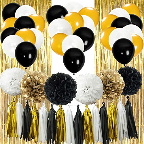 InBy 52pcs Black and Gold Party Decoration Kit Bridal Shower Baby Shower Wedding Birthday Bachelorette Party Supplies Set - Tissue Paper Pom Pom, Tassel Garland, Latex Balloon, Foil Fringe Curtain