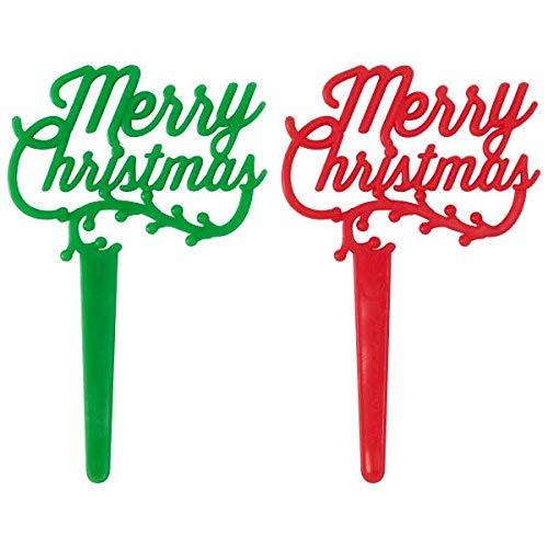 Merry Christmas Holly Cupcake Picks - 24 ct