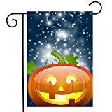 ShineSnow Funny Pumpkin Halloween Holiday Garden Yard Flag 12''x 18'' Double Sided, Bling Glitter Autumn Harvest Polyester Welcome House Flag Banners for Patio Lawn Outdoor Home Decor
