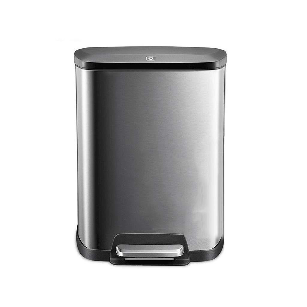 Kffc Cubo de la Basura  cesto de Basura Acero Inoxidable 8L Bote de Basura Sala de Estar Dormitorio baño Cocina Tipo Pedal Cubierto Cuadrado Bote de Basura Cubo de la Basura  cesto de Basura