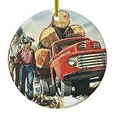 Zazzle Vintage Business, Logging Truck with Lumberjacks Metal Ornament Circle