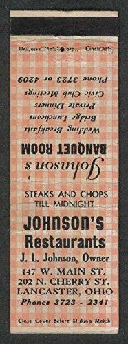 Johnson's Restaurant 147 W Main St 202 N Cherry Lancaster OH matchcover - Lancaster Cherry