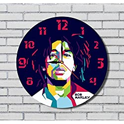BOB MARLEY - 11.8 - HANDMADE ART WALL CLOCK - UNIQUE DESIGN - BE SPECIAL - THE BEST GIFT made by plastic
