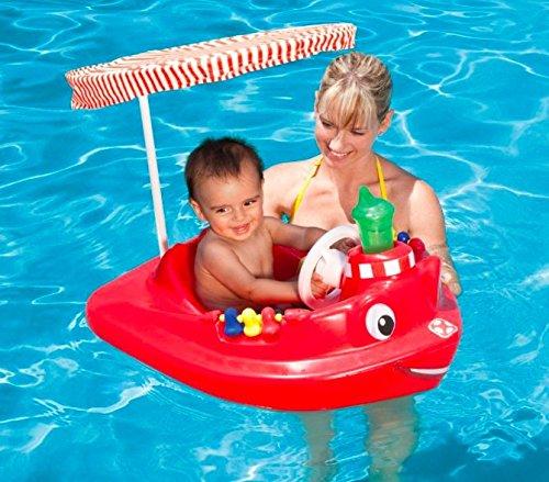 Swimways Baby Rescue Tug Boat Spring Uv Canopy Pool Float Lounge