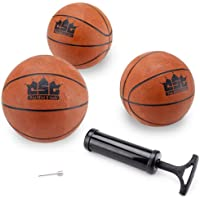 Crown Sporting Goods Mini Balón de Baloncesto con Aguja y Bomba de inflación (Juego de 3), 5 Pulgadas