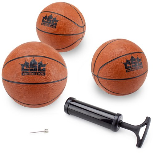 5 Inch Mini Rubber Basketball (Crown Sporting Goods Mini Basketball with Needle and Inflation Pump (Set of 3), 5-Inch)
