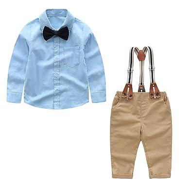 91d250ee38 Baby Boys  4 Piece Shirt Suspender Pants Gentleman Clothing Set Top+  Bowtie+ Pants with Suspender