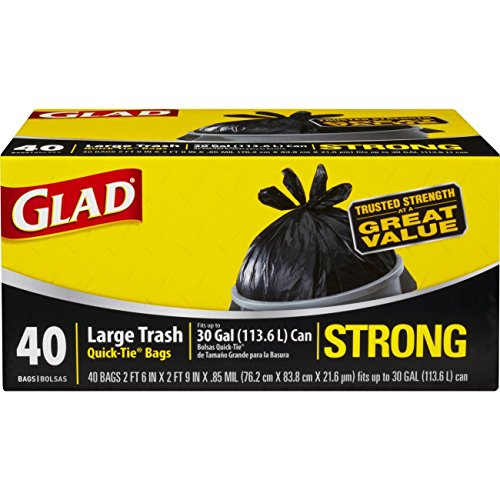 Glad Handle Tie (Glad Strong Quick-Tie Large Trash Bags - 30 Gallon - 40 Count (Pack of 4) (Packaging May Vary))