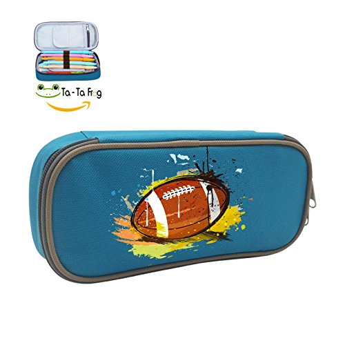 Cute Large Capacity Cool Canvas Pencil Case Pen Bag Hand Painted Rugby Student blue (Buffalo Bills Pencil)