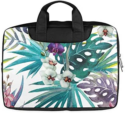 13 Inch Orchid Hibiscus Leaves Watercolor Tropics Mens Laptop Carrying Case with Handle Lightweight Computer Laptop Bag Fits MacBook Air Pro
