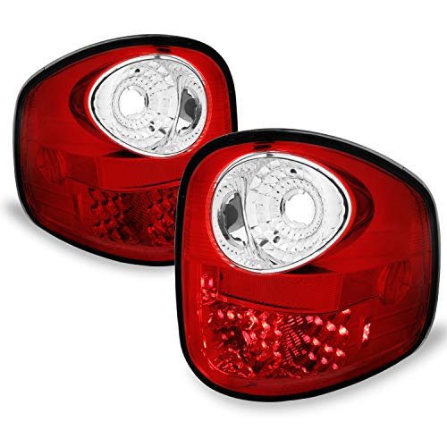 - Fits 2001-2003 F-150/2004 F150 Heritage Model Pickup Flareside Bed LED Red Clear Tail Lights LH+RH Replacement