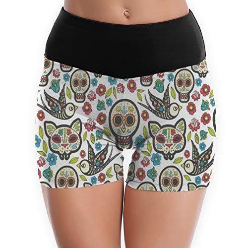 Compression Shorts Indian Sugar Skull Owl Funny Cat High Waist Yoga Shorts Non See Through Golf Shorts -