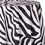 Ultimate Textile Zebra 120-Inch Round Party Tablecloth