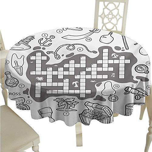 Zodel Polyester Tablecloth Word Search Puzzle Colorless Pirates Themed Educational Puzzle Treasure Map and Icons Party D54 Suitable for picnics,queuing,Family -