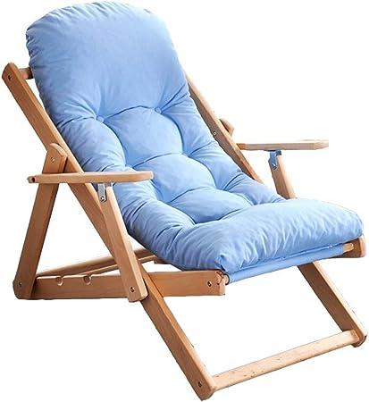 Axdwfd Tumbona Sillón reclinable de Madera, Silla de balcón Silla de jardín for Exterior Tumbona, sillón reclinable Plegable 3 ángulos Ajustables (Color : Blue): Amazon.es: Hogar