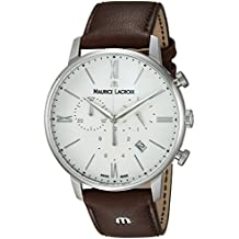 Maurice Lacroix Men's 'Eliros' Swiss Quartz Stainless Steel and Leather Casual Watch, Color:Brown (Model: EL1098-SS001-112-1)
