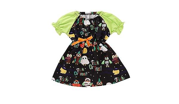 JYC Vestido para Niñas, Vestido para Bebés, Niño Bebé Chicas Corto Manga Dibujos Animados Impresión Vestidos Halloween Trajes: Amazon.es: Ropa y accesorios