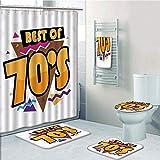 Bathroom 5 Piece Set shower curtain 3d print Multi Style,70s Party Decorations,Peace Sign Colorful Flowers Rainbows Love and Joy Festive Composition Decorative,Multicolor,Bath Mat,Bathroom Carpet Rug,