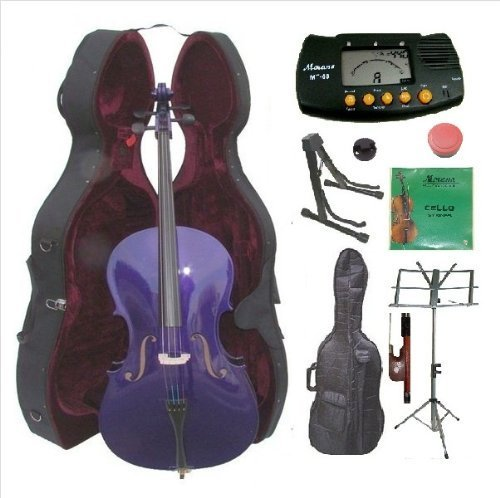 Merano 4/4 Size Purple Cello with Hard Case, Bag and Bow+2 Sets of Strings+Cello Stand+Black Music Stand+Metro - Purple Cello