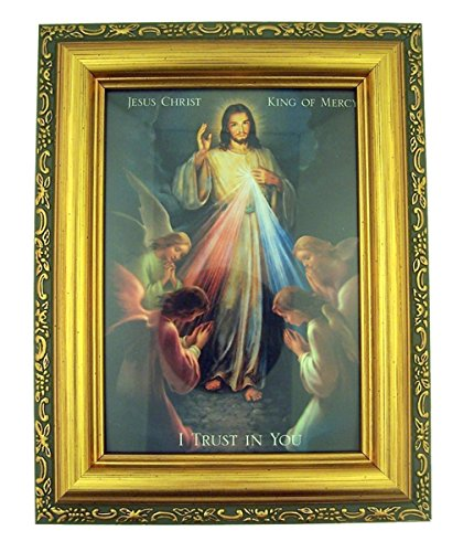Italian Lithograph Jesus Christ King of Mercy Print in Antique Gold Tone Frame with Glass, 6 1/2 inch