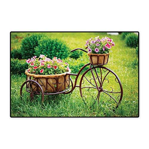 Sunburst Basket - Flower Door Mats for Inside Vintage Antique Rusty Bike with a Basket Flowers in a Spring Time Garden Photo Print Floor mat Bath Mat 20