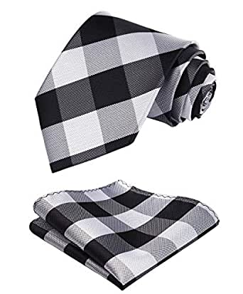 HISDERN Plaid Tie Handkerchief Woven Classic Stripe Men's Necktie & Pocket Square Set (Black & White)