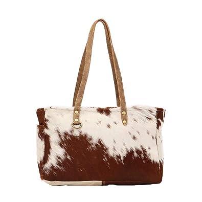 Amazon.com: Myra Bag S-1453 - Bolso pequeño de lona y piel ...