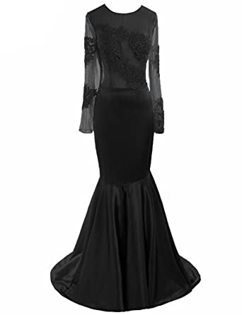 3884cf18ed9 Shadi Bridal Women s Round Neck Long Sleeve Sexy Mermaid Formal Evening  Gowns Party Dresses Black US2