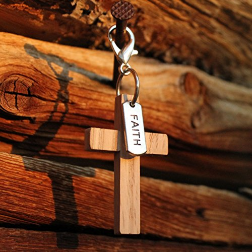 2-Red-Oak-Wood-Cross-Walkers-Christian-Faith-Pack-Series-1-Wooden-Cross-CharmPendantKey-Chain-and-Three-Inspirational-Bible-ScripturePicture-Walkers-Faith-Cards-for-Christian-Women-and-Men