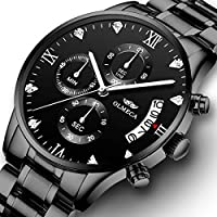 [Patrocinado] Men's Watches Luxury Analog Quartz Watch Stainless Steel Fashion Dress Business Wristwatch Chronograph Waterproof Watch for Men 0878M-QHYDgd