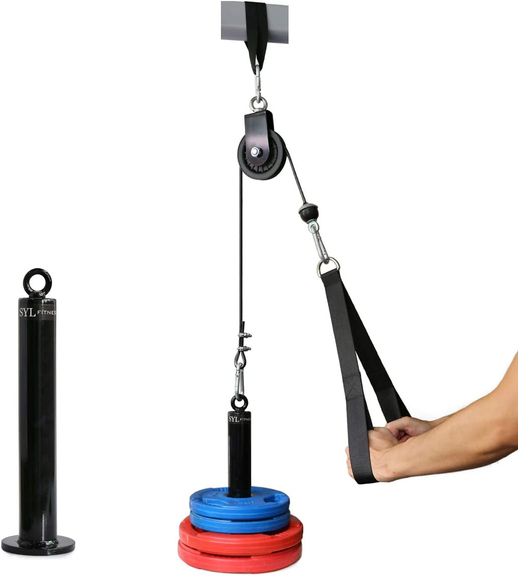 SYL Fitness LAT Pull Down Machine Attachment DIY Tricep Rope Cable Pulley System