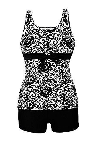 HOTAPEI Women Swimwear Two Piece Tankini Tops Black Floral Printed XL