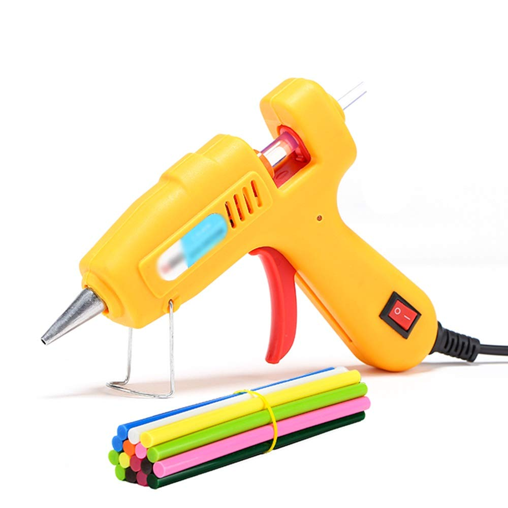 GYZ Hot melt Glue Gun with 50 Color Glue Sticks 40W Rapid Heating Technology - for DIY Small Art Crafts Crafts Seal and Quick Repair (Yellow) Hot Melt Glue