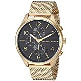 Michael Kors Men's Merrick Analog-Quartz Watch with Stainless-Steel-Plated Strap, Gold, 20 (Model: MK8645)