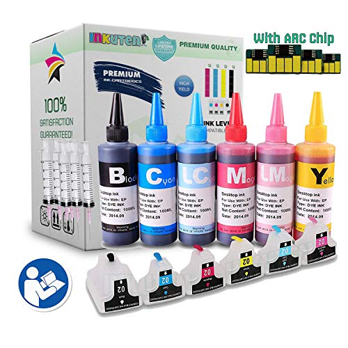 INKUTEN 4 EMPTY Refillable Cartridges for HP 02 Easy-to-refill with 6x100ml Dye ink, Auto Resettable Chips, Syringes & Needles