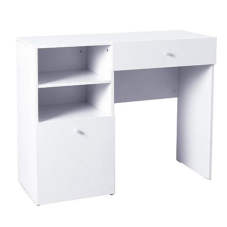 Scrivania Pc Moderna.Homcom Scrivania Moderna Design Porta Pc Computer Da Ufficio In Legno Mdf 100 40 82cm