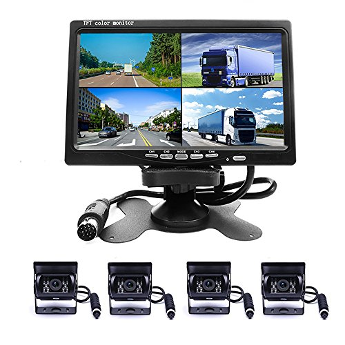 Camecho Vehicle Backup Camera 7 Inch 4 Split Monitor Front View, Rear View Camera 18 IR Night Vision Waterproof Auto Camera with 2x33 ft and 2x65ft Cables For Trucks, RV, Trailer, Bus - 7 Pin 4 Pin Video Cable