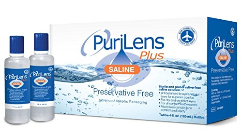PuriLens Plus Preservative Free Saline Twelve 4-fl. oz(120-mL)Bottles