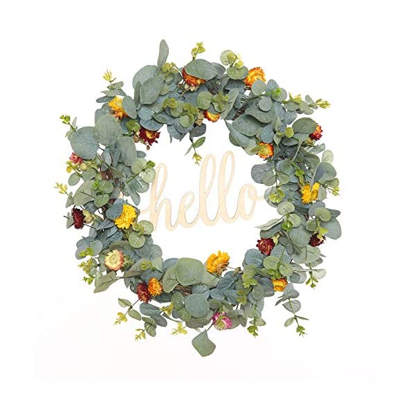 FAVOWREATH 2019 Vitality Series FAVO-W171 Handmade 18 inch Hello Letter,Eucalypt Left,Multi Flowers,Berry,Leaf Grapevine Wreath Summer/Fall Front Door/Wall/Fireplace Floral Hanger Home Every Day Decor