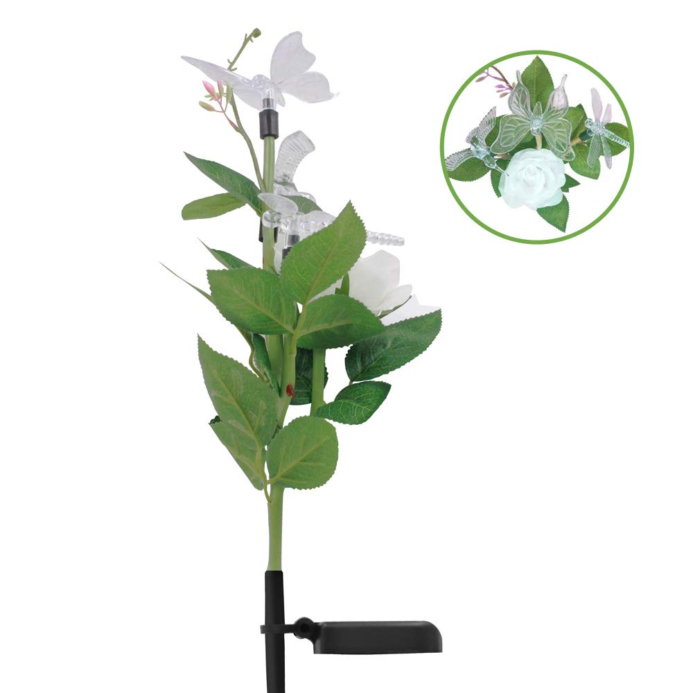 SAPPYWOON Outdoor Solar Flower Lights,Bird Butterfly Dragonfly Rose Flower Garden Stake Light, Multi-Color Changing LED Solar Powered Lights for Garden, Patio, Backyard