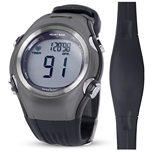 Heart Rate Monitor (HRM) & Sports Watch, Premium Edition, Activity Tracker, Calorie Counter, Heart Rate Target In-Zone Timer, Stopwatch, Chronograph, EL Backlight (Target Rate Monitor Polar Heart)