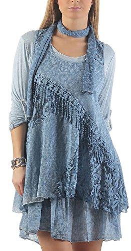 malito malito Vestido con chal Maxi Vestido Encaje 6285 Mujer Talla Ùnica azul claro