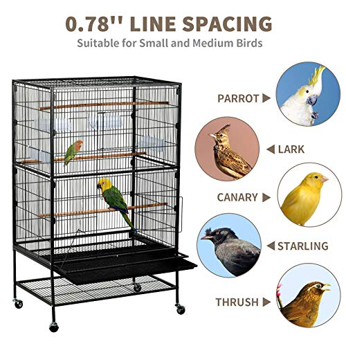 SUNCOO 53 inches Large Bird Cage Wrought Iron Heavy Duty Flight Cage for Parrot Budgie Parakeet Cockatoo Cocatiel with Wooden Perch Storage Shelf Rolling Stand Wheels, Bird Aviary Cage Black