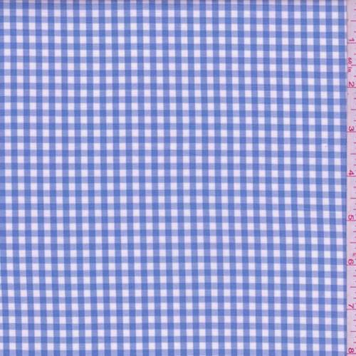 Cotton Shirting Fabric - Sky Blue Gingham Check Cotton Shirting, Fabric by The Yard
