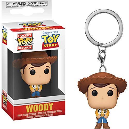 Woody: Disney Pixar Toy Story x Funko Pocket POP! Mini-Figural Keychain + 1 Classic Disney Trading Card Bundle -