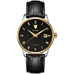 TEVISE® Men's Fashion Dress Automatic Watch Thin Black Dial Golden Edge Black Genuine Leather Band